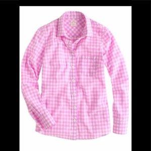 J. Crew Women's Perfect Shirt Pink Gingham